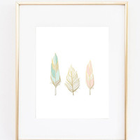 Blush Pink Mint and Gold feathers wall art by StorybirdPrints