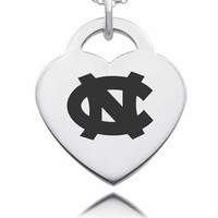 Sterling Silver North Carolina Tarheels Heart Charm