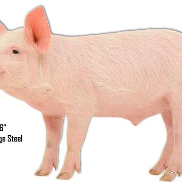 Pig Animal Wall Art Laser Cut Out Metal  Sign 16″x23″