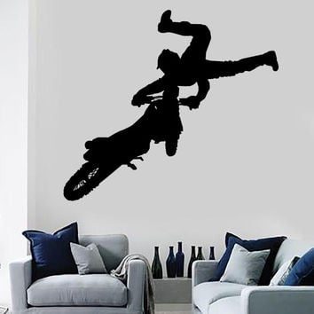 Vinyl Decal Wall Sticker Motorcycle Racer Motocross Jump Stunt Decor Unique Gift (n771)