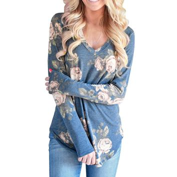STYLEDOME Women V-Neck Long Sleeve Flowers Printed Blouse Casual Tops T Shirt Tops