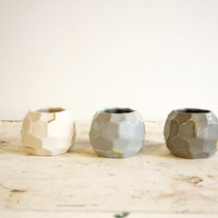 set of 3 ombre, gradient, mini faceted vessels - gray to white with gold detailing