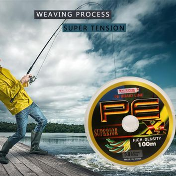 4 Stands 100M PE Braided Fishing Line Super Strong Multifilament Fishing Line for Carp Fishing Wire for All Fishing