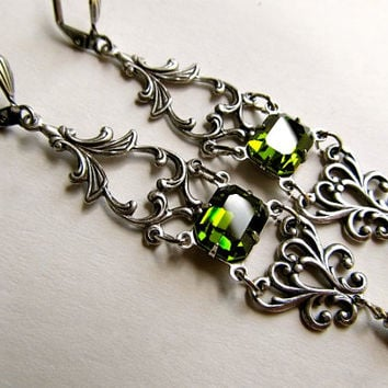 Vintage Olive Green Earrings Sterling Earrings Silver Earrings Art Deco Earrings Filigree Earrings Moss Green Earrings- Envy