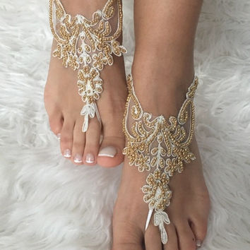Gold ivory Beach wedding barefoot sandals, french lace sandals, wedding anklet, Beach wedding barefoot sandals, embroidered sandals