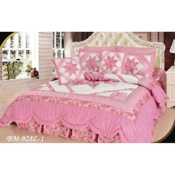 Girly Girl Pink & White Floral Stars Embellished Ruffles Coverlet Bedspread Comforter Set