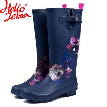 Hellozebra Women Tall Rain Boots Lady Printing platform boots Low Heels Waterproof Buckle High Rain boots 2017  Fashion Design