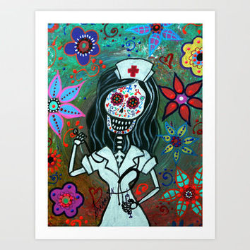 MY FAVORITE NURSE MEXICAN DAY OF THE DEAD PAINTING Art Print by Prisarts
