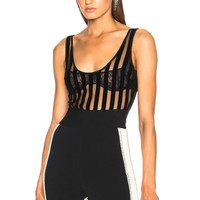 David Koma Flock Bodysuit in Black | FWRD