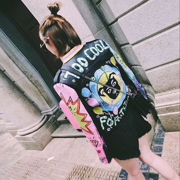 printed letter PU jacket girl fashion embroidery leather coat outfit black nightclub singer costume women sexy dancer star show