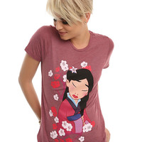 Disney Mulan Floral Girls Boyfriend T-Shirt