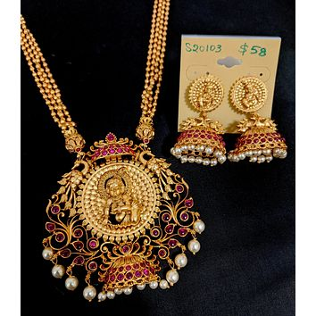 Multi stranded ball chain with Lord Krishna pendant long haram Necklace and Jhumka Earring set