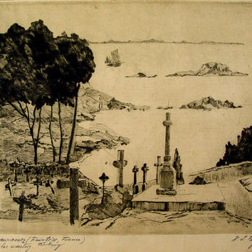 Vintage Etching - French Sailors Graveyard
