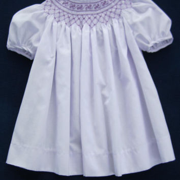 9 Month - Hand Smocked Lavender Dress - Bow Design