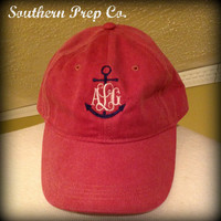 Anchor Monogrammed Baseball Cap by SouthernPrepCo on Etsy