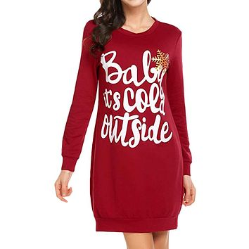 Red Christmas Print Letter Hoodies Dress Women Long Sleeve Party Sweet Straight Casual Mini Dresses Winter Xmas Dress
