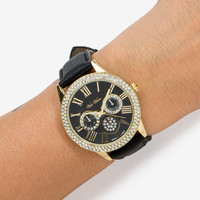 Rhinestone Faux Leather Watch