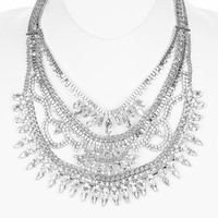 Silver clear vintage style statement necklace