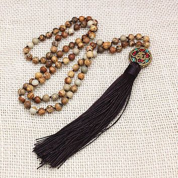 Natural imperial stone 108 beads necklace long tassel healing meditation tibetan buddist prayer mala beads yoga 80cm necklace