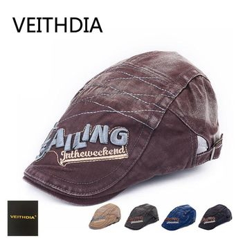 VEITHDIA 2017 New Fashion Gatsby Newsboy Jeans Cap Men Denim Hat Driving Flat Cabbie Unisex Denim Berets Hat Duckbill Cap 487
