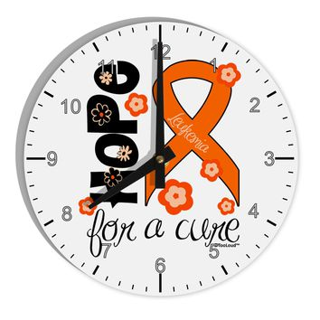 """Hope for a Cure - Orange Ribbon Leukemia - Flowers 8"""" Round Wall Clock with Numbers"""