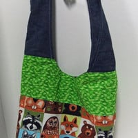 Cross Body Large purse - Large Mail Sack- made by me using woodland Animals print
