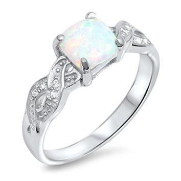 Cushion Cut White Lab Opal in an Infinity Knot with Clear CZ Stones Set in Sterling Silver Ring Size 4-12