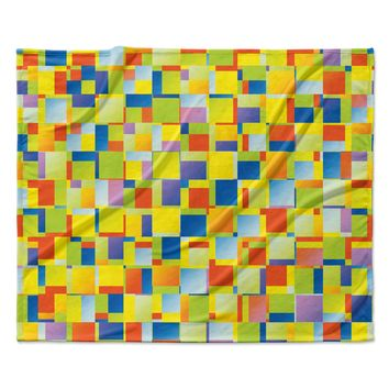 "Dawid Roc ""Multi Color Blocking"" Yellow Geometric Fleece Throw Blanket"