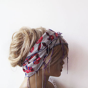 Floral, Spring Headband, Cotton Head Scarf, Women's Head Wrap, Summer Beach Hair Band Boho Casual, Head Chain, For Women