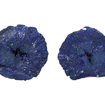 Blue Azurite with druzy center Crystalline Gemstone Nodule Tiny Geode Pair Copper Mineral Specimen from Arizona for a rock and crystal curio