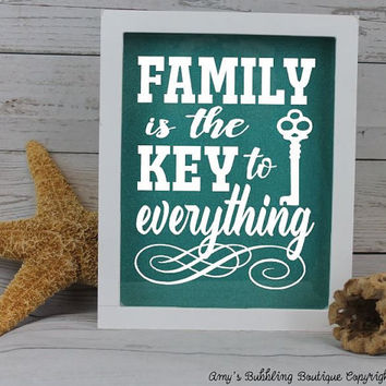Family Shadow Box Gift - Typography Quotation Inspirational Family is the Key to Everything Glitter Display Keepsake Housewarming Gift