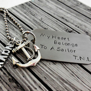My Heart Belongs To A Sailor Stainless Steel , Soldier  Or Airmen Or Sailor With Your Choice Of Military Branch Charm / Military Dog Tag