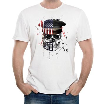 Skull American Flag Death Print Cool T-shirts Cotton Modal Women Men White Tee Gifts for Him Her Regular Slim Fit for ladies