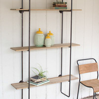 3 Tiered Metal Tube Frame Wall Shelf with Wooden Shelves- Large
