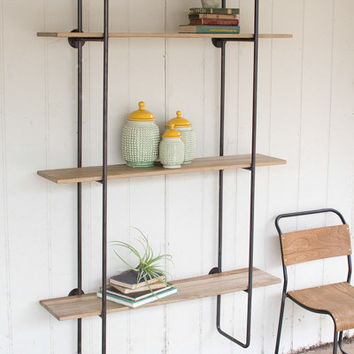 3 Tiered Metal Tube Frame Wall Shelf with Wooden Shelves-Large