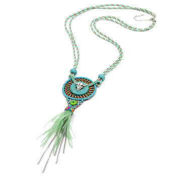 Jewelry Women Statement Necklace Alloy Cow Head Feather Chain Tassel Pendant