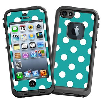 White Polka Dot on Turquoise Skin for the LifeProof fre iPhone 5/5S Case by skinzy.com