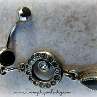 Jet Glass Belly Button Ring, Hipster, Direct Checkout, Ready to Ship