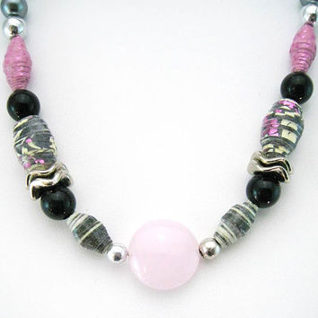 Pink and black handmade paper beads necklace - Upcycled, Shabby Chic, Bohemian, OOAK, Statement Necklace