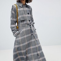 ASOS DESIGN Trench In Check at asos.com