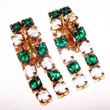 "Trifari Green Rhinestone Earrings Drop Dangles Gold Metal Clip On's 1 1/4"" Vintage"