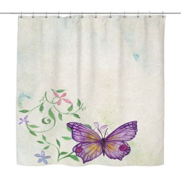 Vintage Water Color Floral Butterfly Shower Curtain