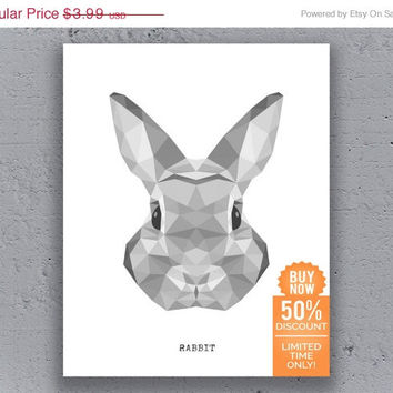 Rabbit Print Printable Poster Geometric Print Black White Wildlife Polygon Animal Art Retro Art Print Instant Download Digital Print