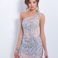 One Shoulder Beaded Cocktail Blush Dress C155
