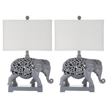 Set of 2 Bohemian Elephant Theme Table Lamps