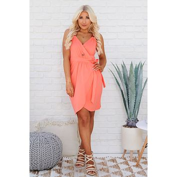Put A Ring On It Wrap Dress (Coral)