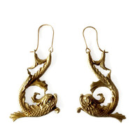 Mythic Creature Dolphin Earrings, Large