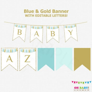 Editable Baby Shower Banner, Blue and Gold, Birthday Banner, Printable Decorations Boy, Digital Download, Blue and Gold Glitter Decor, TASBG