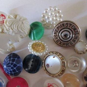 Vintage Collection of Over 60 Buttons inc. Rhinestone, Metal, Glass, Plastic