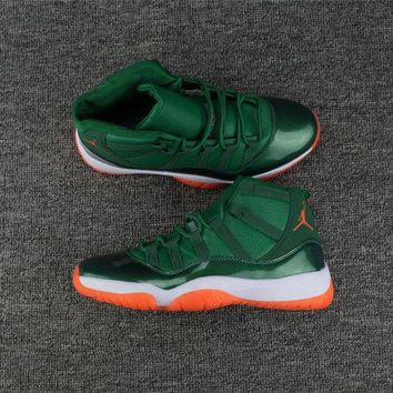 ONETOW Jacklish Girls Air Jordan 11 Miami Hurricanes Pe Green White Orange For Sale